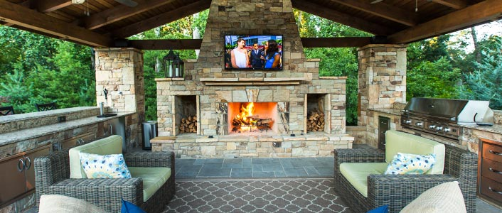 Artistic landscapes landscaping services in atlanta ga for Outdoor cooking area and fireplace