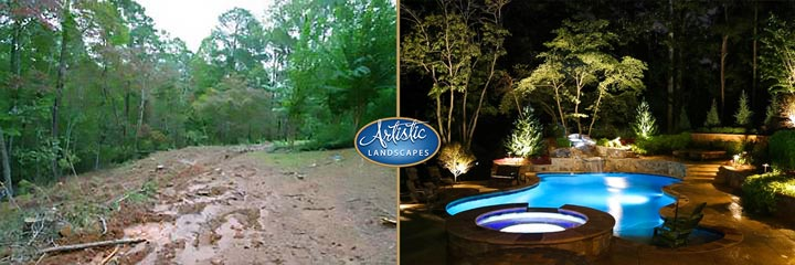 Before and after landscape transformation