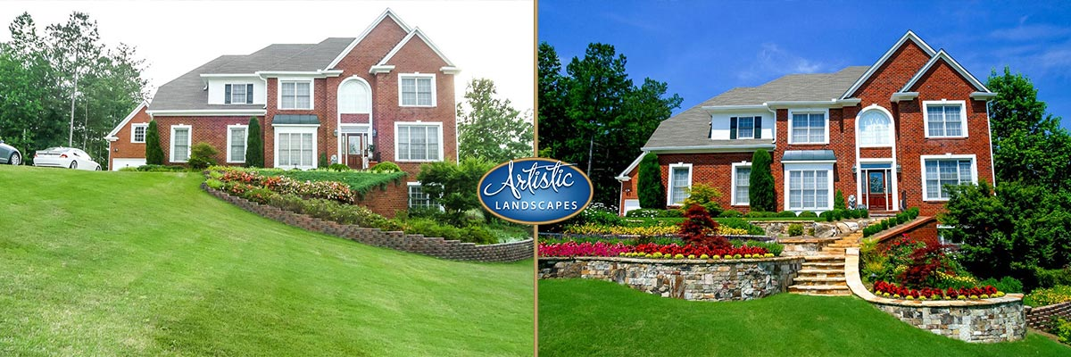 before and after landscaping work by artistic landscapes in atlanta
