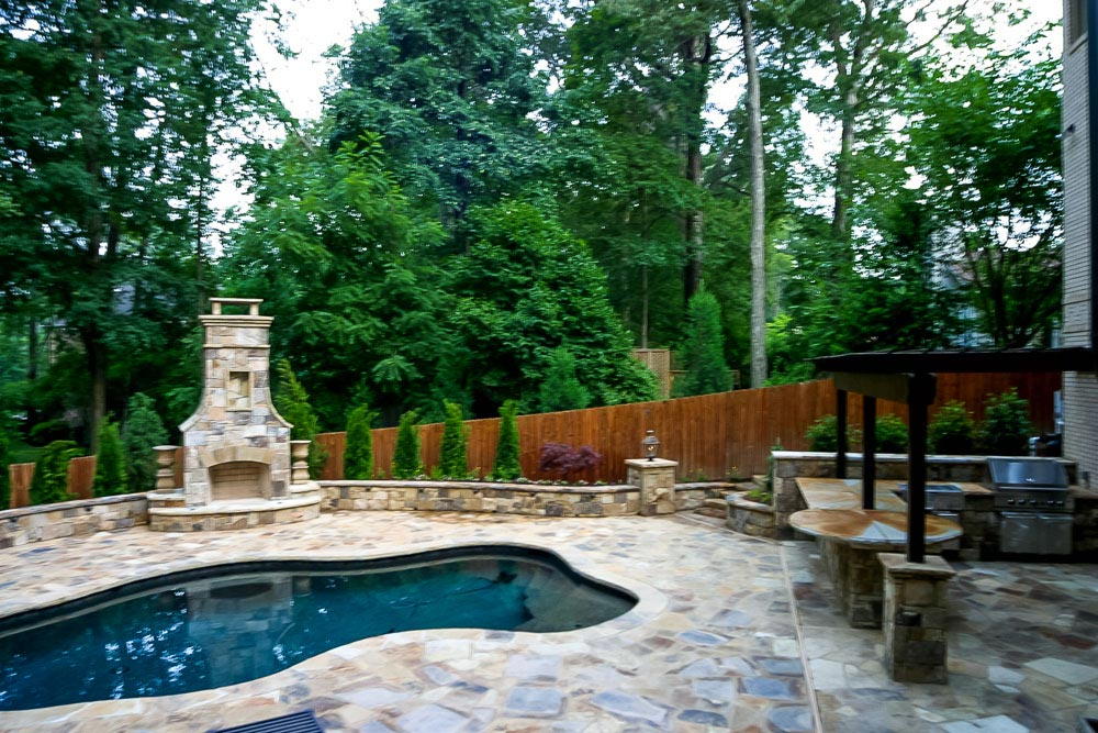 Pool Outdoor Kitchen Arbor Fireplace Patio And Landscaping