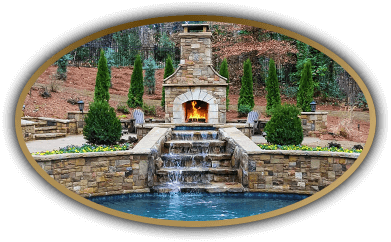 Fireplace, pool and waterfall